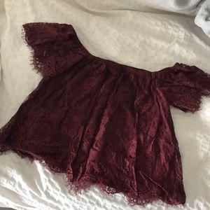Burgundy Lace Off-shoulder Top